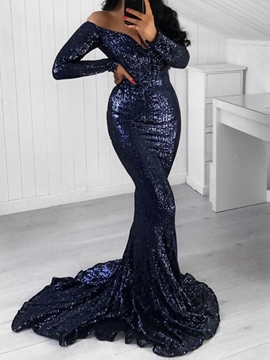 Ericdress Sequins Long Sleeves Off-The-Shoulder Evening Dress