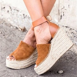 Ericdress Faux Suede Patchwork Wedge Heel Women's Sandals