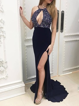 Ericdress Strapless Split-Front Floor-Length Evening Dress 2019