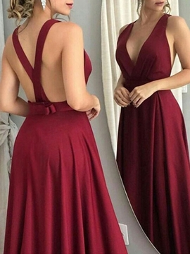 Pleats Sleeveless Floor-Length V-Neck Evening Dress