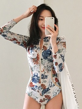 Ericdress Floral Print Zipper Sexy Hollow One Piece Women's Monokini
