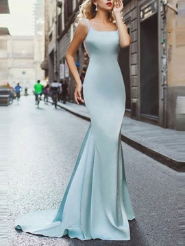 Beading Backless Floor-Length Mermaid Evening Dress