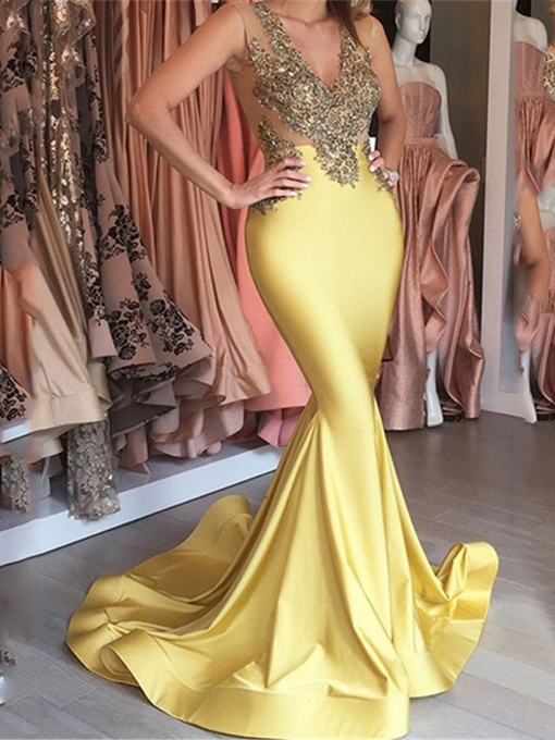 Ericdress Sexy V-Neck Mermaid Evening Dress