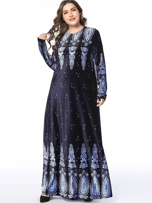 Ericdress Print Floor-Length Round Neck Plus Size Going Out Dress