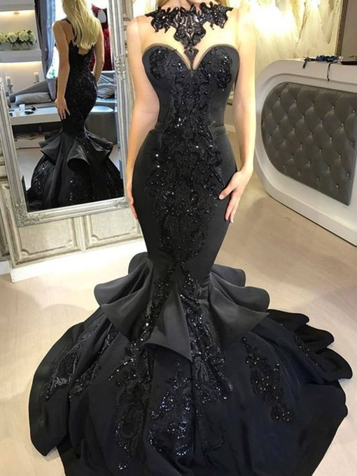 Ericdress Beaded Appliques Mermaid Black Evening Dress 2019