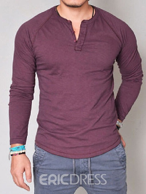 Ericdress Plain V-Neck Button Mens Casual T-shirt