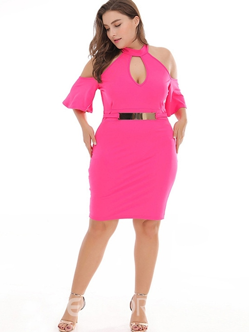 Ericdress Plus Size Above Knee Half Sleeve Bodycon Pullover Dress