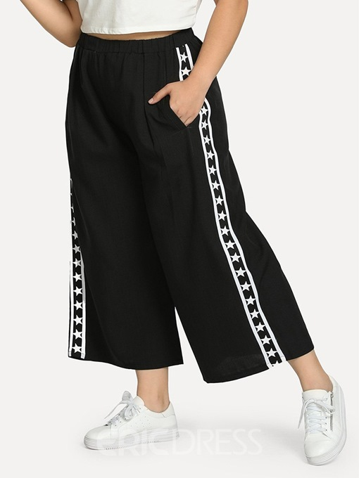 Ericdress Plus Size Patchwork Loose High Waist Ankle Length Casual Pants