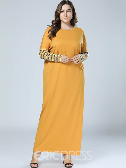Ericdress Round Neck Ankle-Length Plus Size Straight Pullover Dress
