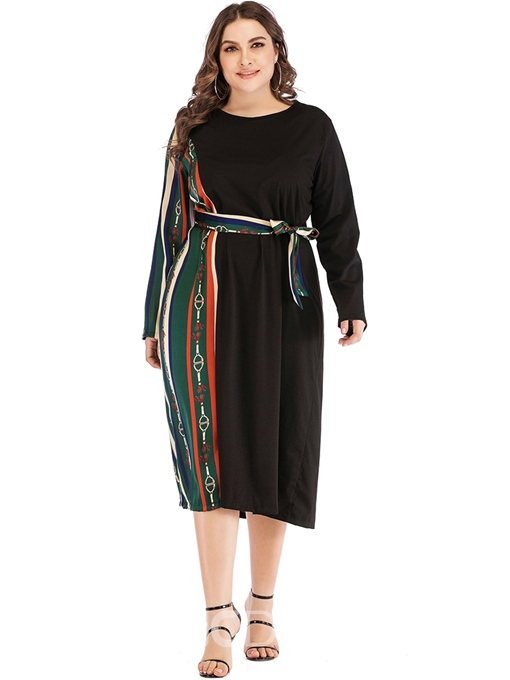 Ericdress Plus Size Round Neck Mid-Calf Long Sleeve A-Line Casual Dress