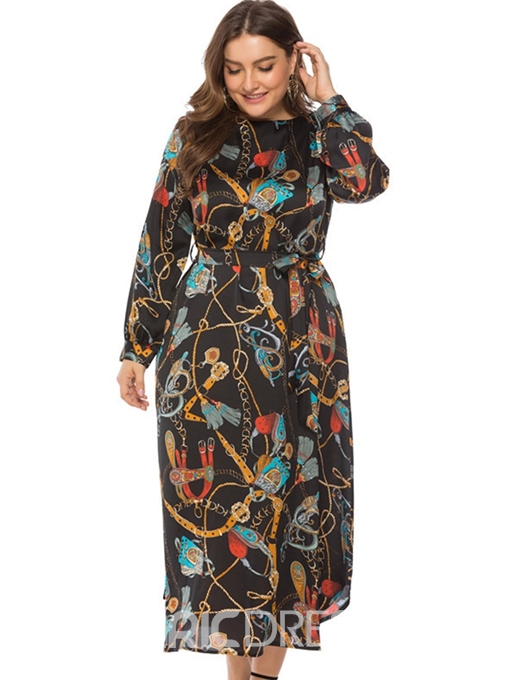 Ericdress Plus Size Print Round Neck Mid-Calf A-Line Regular Dress