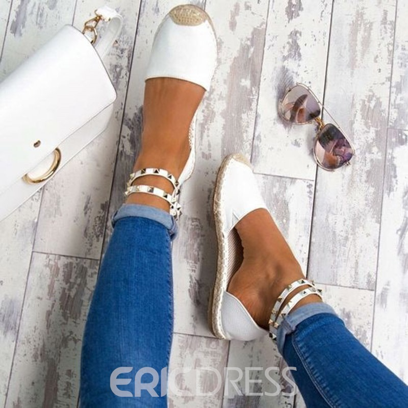 Ericdress Rivet Round Toe Block Heel Women's Flat Sandals