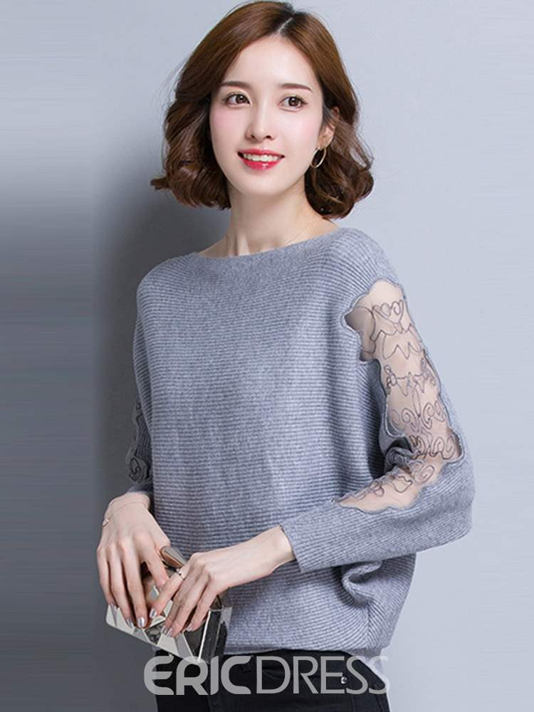 Ericdress Thin Batwing Sleeve Patchwork Long Sleeve Spring Sweater