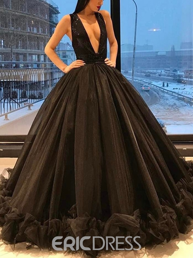 Ericdress Sleeveless Floor-Length V-Neck Formal Dress 2019