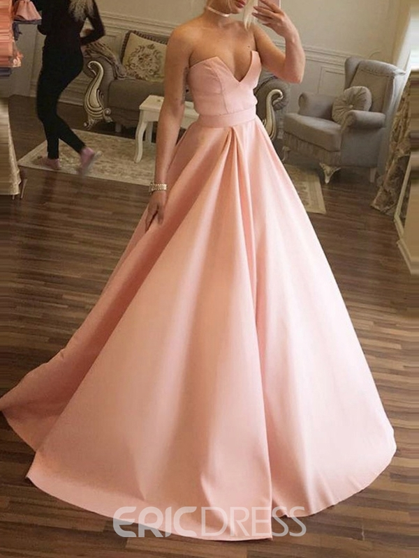 Sweep/Brush Pleats Ball Gown Sleeveless Prom Dress