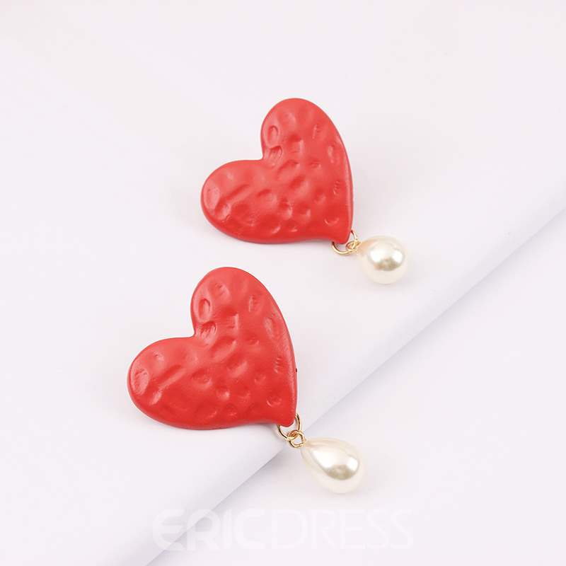 Ericdress Alloy Heart Pearl Earrings