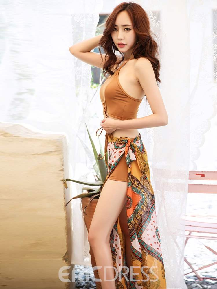 Ericdress Lace-Up Print Bikini Beach Look Swimwear