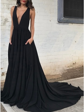 Ericdress Floor-Length A-Line Pleats V-Neck Black Evening Dress