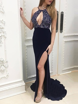 Floor-Length Sleeveless Court Mermaid Evening Dress