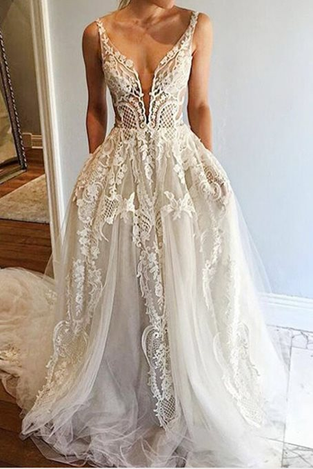 Ericdress Lace A-Line Sleeveless V-Neck Prom Dress