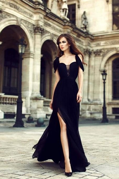 Floor-Length Sleeveless Off-The-Shoulder A-Line Evening Dress
