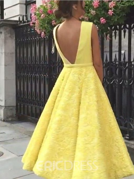 Ericdress Lace A-Line Tea-Length Sleeveless Prom Dress