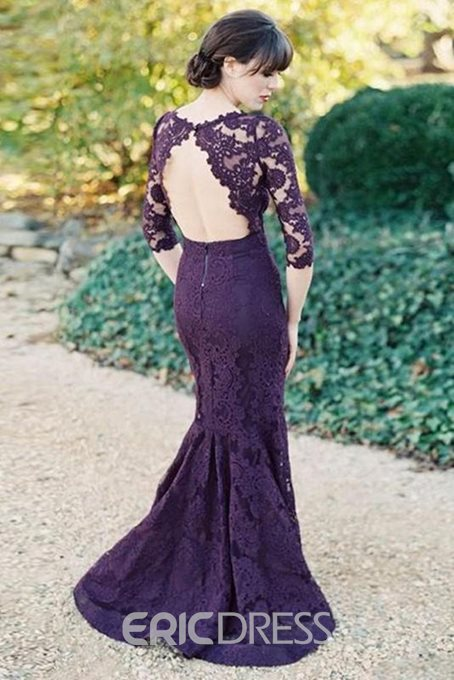 Ericdress Half Sleeve Mermaid Lace Wedding Bridesmaid Dress