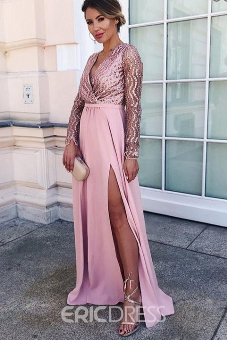 Sequins V-Neck Floor-Length A-Line Evening Dress