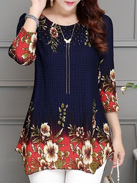 Ericdress Floral Print Round Neck Three-Quarter Sleeve Mid-Length Blouse