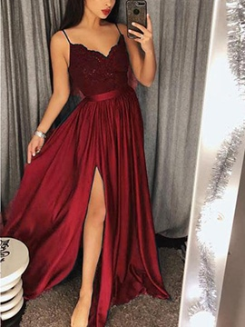 Floor-Length A-Line Spaghetti Straps Sleeveless Prom Dress
