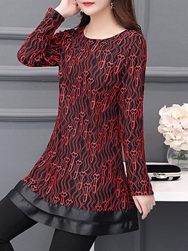 Ericdress Round Neck Regular Patchwork Mid-Length Long Sleeve Blouse