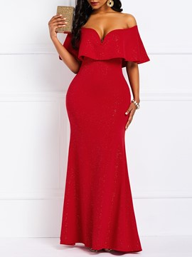 Ericdress Falbala Half Sleeve Floor-Length Party Trumpet Dress