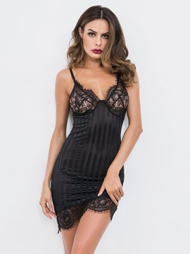 d896c5f1721 Ericdress See-Through Spaghetti Strap Plain Tight Wrap Babydolls