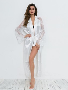 Ericdress Lace Patchwork Cardigan Long Sleeve Robe Babydolls
