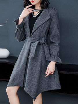 Ericdress One Button Loose Belt Mid-Length Winter Overcoat
