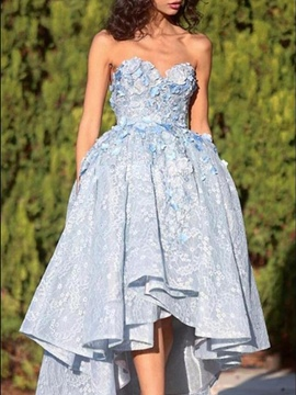 Ball Gown Asymmetry Flowers Sleeveless Prom Dress