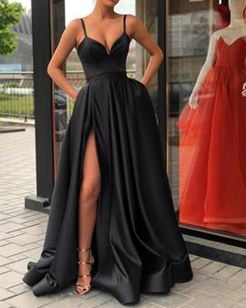Ericdress Spaghetti Straps Pockets Black Prom Dress 2019