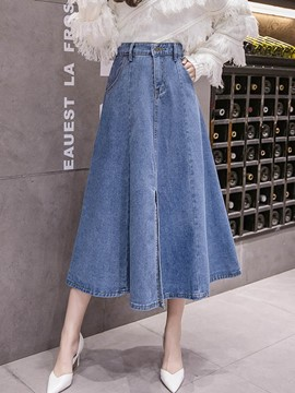 Ericdress Denim Plain Pockets A-Line High-Waist Skirt
