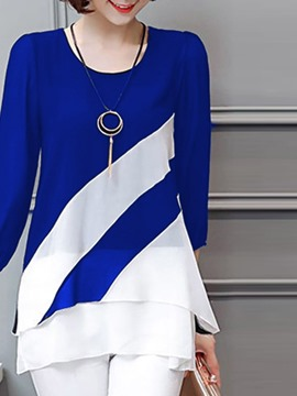 Ericdress Color Block Regular Round Neck Mid-Length Three-Quarter Sleeve Blouse