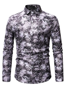 Ericdress Floral Print Lapel Button Up Mens Casual Shirt