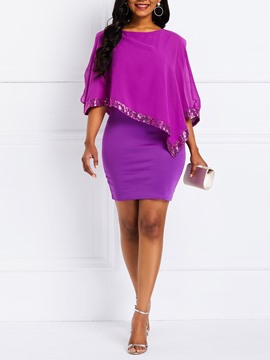 Ericdress Chiffon Half Sleeve Round Neck Above Knee Bodycon Dress