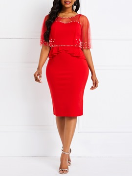 Ericdress Mid-Calf Bead Bodycon Red Dress