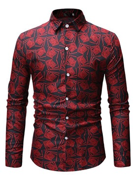 Ericdress Geometric Print Button Up Mens Casual Shirt