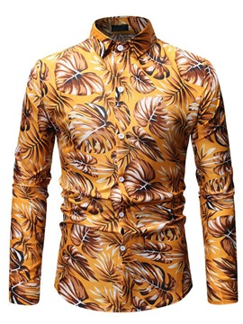 Ericdress Floral Print Lapel Button Up Mens Casual Slim Shirt