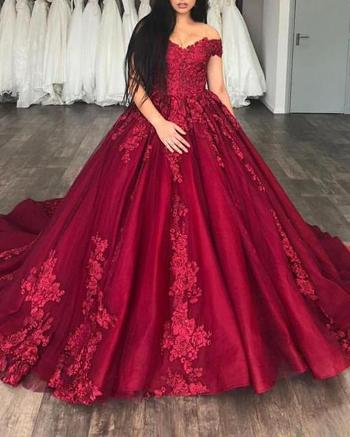 Floor-Length Off-The-Shoulder Ball Gown Sweep Train Prom Dress