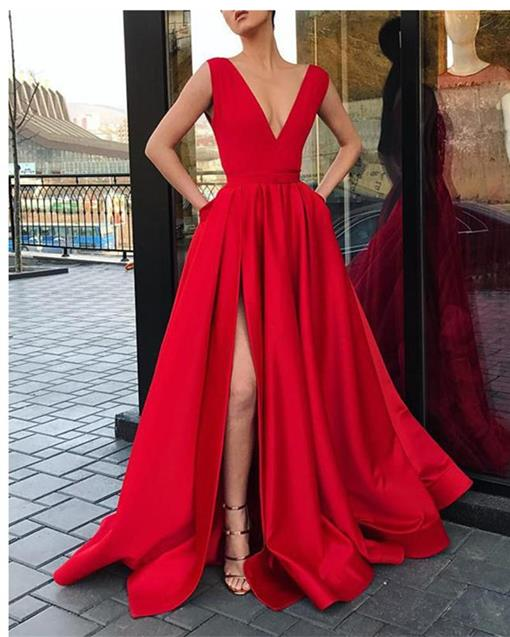 Ericdress Sleeveless Floor-Length V-Neck Split-Front Prom Dress