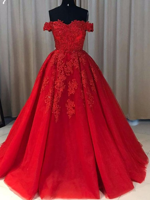 Ericdress Ball Gown Applique Short Sleeves Evening Dress