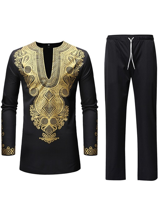 Ericdress African Style Dashiki Printed Shirts & Pants Mens Outfit