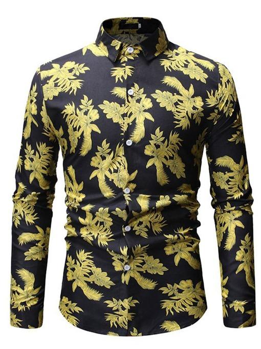 Ericdress Floral Print Button Up Mens Casual Slim Shirt