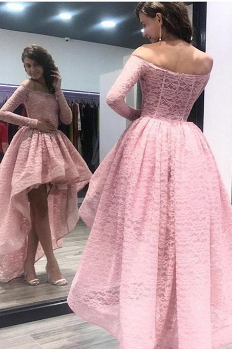 Ericdress Asymmetry Off-The-Shoulder Long Sleeves Lace Prom Dress